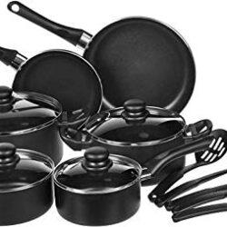 AmazonBasics Non-Stick Cookware Set, Pots, Pans and Utensils – 15-Piece Set
