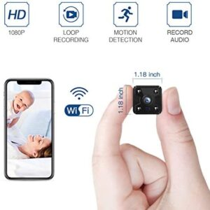 FREDI Hidden Spy Camera, 1080P HD Mini Wireless WiFi Small Nanny Cam with Night Vision, Motion Detection, Loop Recording, Flexible Magnetic Bracket for Home and Office – Work with iOS Android PC