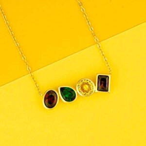 Birthstone 925 Sterling Silver Plated 14K Gold Pendent Necklace for Women