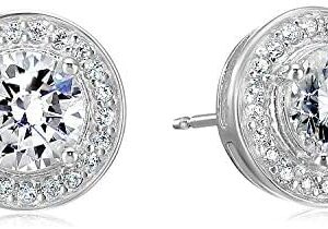 Amazon Essentials Plated Sterling Silver Cubic Zirconia Halo Stud Earrings