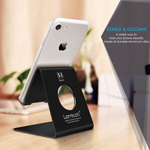 Cell Phone Stand, Lamicall Phone Stand: Cradle, Dock, Holder Compatible with iPhone 11 Pro Xs Max XR X 8 7 6 Plus and Other Android Smartphone Charging, Desk Office Accessories – Black