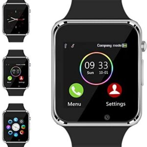Smart Watch – Sazooy Bluetooth Smart Watch Support Make/Answer Phones Send/Get Messages Compatible Android iOS Phones with Camera Pedometer SIM SD Card Slot for Kids Men Women (Silver)