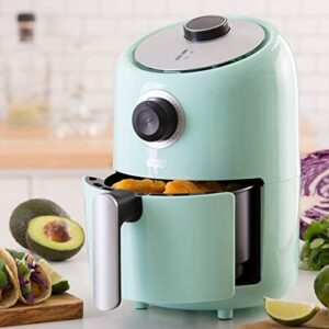 Dash (DCAF150GBAQ02) Compact Air Fryer Oven Cooker with Temperature Control, Non Stick Fry Basket, Recipe Guide + Auto Shut off Feature, 2qt, Aqua