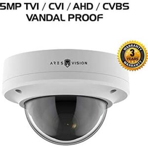 Ares Vision 4 in 1 5MP AHD,TVI,CVI, or Analog CCTV Camera w/IR Night Vision & Vandal Proof Glass