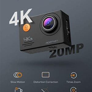 APEMAN A79 4K Action Camera 20MP WiFi External Microphone Remote Control Underwater 40M Waterproof Sports Cam for Yutube/Vlog Videos, PC Webcam