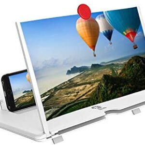 12″Screen Magnifier Cell Phone 3D HD Movie Video Amplifier with Foldable Holder Stand for iPhone X/8/8 Plus/7/7 Plus/6/6s/6 Plus/6s Plus and All other Smart Phones.A Smart Gift For Family