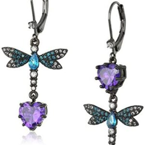 """Betsey Johnson """"Cubic Zirconia Critter"""" Cubic Zirconia and Butterfly Double Mismatch Drop Earring"""