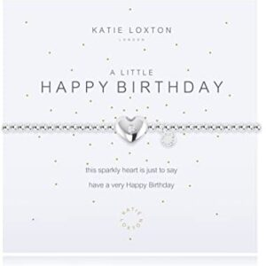 Katie Loxton A Little Happy Birthday Silver Women's Stretch Adjustable Charm Bangle Bracelet