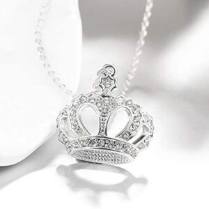 Queen Style 18K Rose Gold-Plated Crown Necklace Pendant (Silver)
