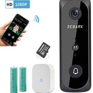 Smart Video Doorbell WiFi Home Wireless Security Camera, 1080P HD Audio Doorbell, 32G TF Card, Home Security Camera with PIR Motion Detection Night Vision Two-Way Talk Real-time Video, Black