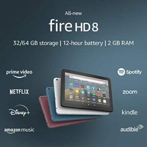 All-new Fire HD 8 tablet, 8″ HD display, 32 GB, designed for portable entertainment, Black