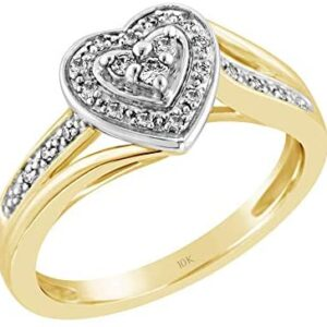 Brilliant Expressions 10K Yellow Gold 0.14 Cttw Conflict Free Diamond Heart-Shaped Halo Offset Engagement or Promise Ring (I-J Color, I2-I3 Clarity)