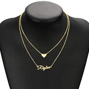 Shinelady Personalized Name Necklace 18K Gold Plated Custom Necklace with Birthstone Customized Nameplate Jewelry Gift for Women