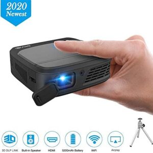 WIKISH Wireless Mini Projector Support Full HD Video/3D Movie/HDMI/USB,Rechargeable WIFI DLP Projector Connect to Smartphone Blu-ray Player PC Mac Fire TV Stick for Home&Outdoor Entertainment Gaming