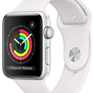 AppleWatch Series3 (GPS, 42mm) – Silver Aluminum Case with White Sport Band