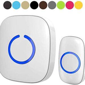Wireless Doorbell by SadoTech – Waterproof Door Bells & Chimes Wireless Kit – Over 1000-Foot Range, 52 Door Bell Chime, 4 Volume Levels with LED Flash – Wireless Doorbells for Home – Model C (White)