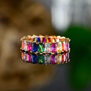 Barzel 18K Gold Plated Emerald-Cut Multi Color Created-Gemstone Eternity Ring