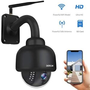 Dericam PTZ WiFi IP Security Camera,1080P Surveillance CCTV Outdoor Camera, Pan/Tilt/Zoom, 4X Optical Zoom, Night Vision, Motion Detection, IP65Weatherproof Pre-Installed 32G SD Card, Black