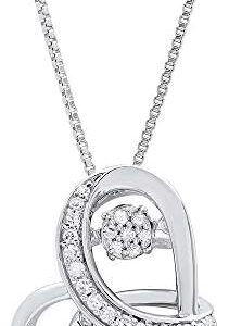 "Dancing Diamond""Love Wrapped"" Heart Pendant Necklace in 925 Sterling Silver by Parade of Jewels (1/6 ct.tw.), 18″"