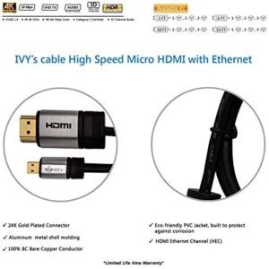 IVY's Cable High Speed Micro HDMI Cable 3 Feet (1 M) w/Ethernet – Supports 2K, 4K, Ultra HD, ARC (Latest), 1080p, 3D – Apple TV Xbox Playstation PS3 PS4 PC – 3 Ft (2-pk)