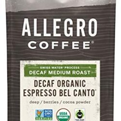 Allegro Coffee Decaf Organic Espresso Bel Canto Whole Bean Coffee, 12 oz