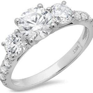 2.2ct Round Cut Pave Three Stone Accent Promise Bridal Engagement Wedding Anniversary Band Ring 14K White Gold