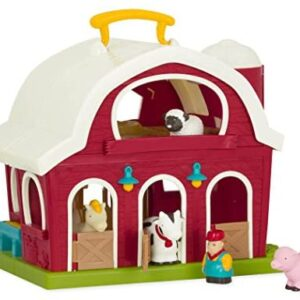 Battat – Big Red Barn – Animal Farm Playset for Toddlers 18M+ (6Piece), Dark Red, 13.5″ Large x 9″ W x 12″ H