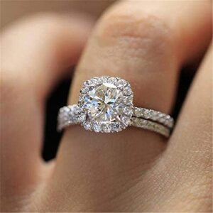 Cutedoumiao Fashion Ring Set Cushion Cut 2PCS Zircon Stone 925 Sterling Silver Engagement Wedding Band Ring Promise Rings Anniversary Wedding Bands for Women Girls (8)