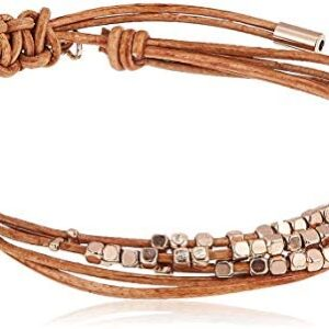 Fossil Women's Stainless Steel and Genuine Leather Bracelet