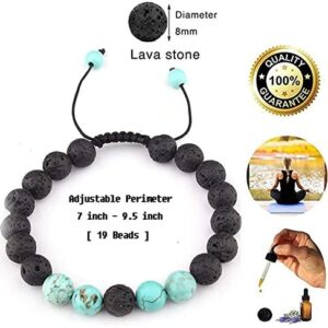 Celokiy Adjustable Lava Rock Stone Essential Oil Anxiety Diffuser Bracelet Unisex with Turquoise – Meditation,Relax,Healing,Aromatherapy