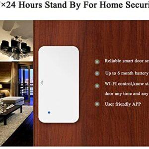 AI Cluster WiFi Door and Windows Sensor Magnets Smart Phone APP Control Doorbell Compatible with Alexa Google Assistant IFTTT,Wireless Security Alarm Door Open Chime for Home Bussiness Burglar Alert