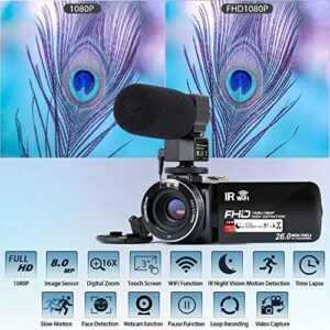 "Video Camera Camcorder WiFi IR Night Vision FHD 1080P 30FPS YouTube Vlogging Camera Recorder 26MP 3.0"" Touch Screen 16X Digital Zoom Camcorder with Microphone,Remote and 2 Batteries"