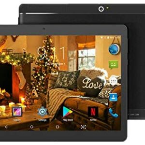 10 inch Android Tablet 4GB RAM 64GB ROM Octa Core with Dual Sim Card Slots – YELLYOUTH 3G Unlocked GSM Phone Tablets with WiFi Bluetooth GPS (Black)