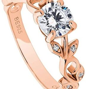 BERRICLE Rose Gold Plated Sterling Silver Round Cubic Zirconia CZ Solitaire Leaf Filigree Promise Engagement Ring 0.9 CTW