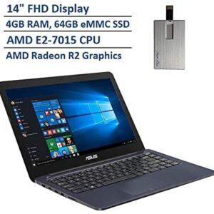 2020 ASUS Thin & Light 14″ FHD Laptop Computer, AMD E2-7015 Dual Core Processor, 4GB RAM, 64GB eMMC SSD, VGA Camera, HDMI, 1 Year Office 365, Windows 10 S, Blue