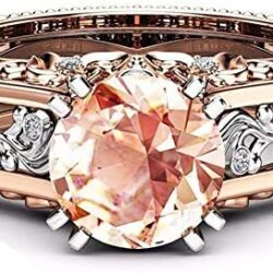 Bokeley Rings, Valentine's Day Fashion Women Color Separation Rose Gold Engagement Wedding Floral Ring (Multicolor, US: 8)