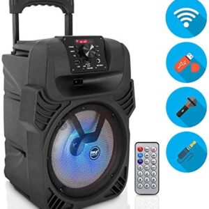 "400W Portable Bluetooth PA Loudspeaker – 8"" Subwoofer System, 4 Ohm/55-20kHz, USB/MP3/FM Radio/ ¼ Mic Inputs, Multi-Color LED Lights, Built-in Rechargeable Battery w/ Remote Control – Pyle PPHP844B"