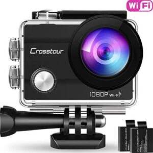 Crosstour Action Camera 1080P Full HD Wi-Fi 12MP Waterproof Cam 2″ LCD 30m Underwater 170°Wide-Angle Sports Camera with 2 Rechargeable 1050mAh Batteries and Mounting Accessory Kits Webcam