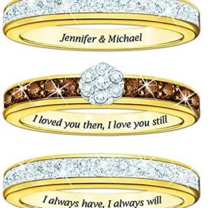 The Danbury Mint I Love You Always Personalized Mocha Diamond Ring Set #4792-007