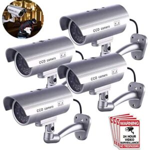 Dummy Security Camera, FITNATE 4 Packs Fake Surveillance Security CCTV Camera System with LED Red Flashing Light for Both Indoor & Outdoor Use + Security Camera Warning Stickers × 4 (Silver)