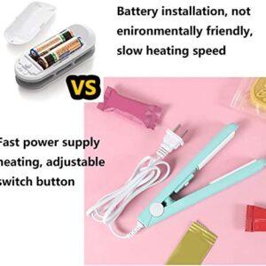 "Mini Bag Sealer Heat Seal, Handheld Food Sealer Bag Resealer for Food Storage, Portable Smart Heat Sealer Machine with 45"" Power Cable for Vacuum Sealer Bag, Chip Bags, Plastic Bags, Snack Bags-Mint"