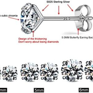 CZ Stud Earrings 925 Sterling Silver 18K Gold Plated Round Cubic Zirconia Hypoallergenic Set
