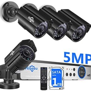 【5MP 8Channel】Hiseeu Security Camera System,H.265+ 8CH DVR + 4Pcs AHD Cameras,Global Phone&PC Remote,Human Detect Alarm,98Ft Night Vision,IP66 Waterproof,24/7 Recording,Easy Setup,Plug & Play,1TB HDD