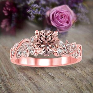 1.50 Carat Round cut Morganite and Diamond Flower Engagement Ring for Women in 10k Rose Gold on Sale