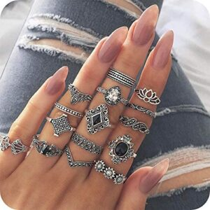 15pcs Vintage Women Mid Ring Set Flower Crown Rhinestone Joint Knuckle Nail Ring Set