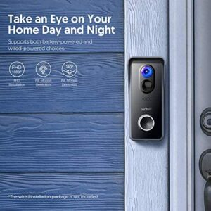 WiFi Video Doorbell Camera 1080P HD with Chime Victure Smart Doorbell Battery Powered with Night Vision Motion Activated Alerts and Tow Way Audio for Home Security