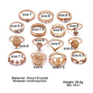 BERYUAN White Gem Stone Vintage Gold Knuckle Ring Set Cute Mickey Gift For Her For Women Girls Teens 15Pcs (gold 1)