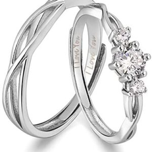 ANAZOZ I Love You His & Hers Matching Wedding Rings Adjustable CZ S925 Sterling Silver Rings for Couple