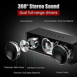Bluetooth Speaker V5.0+EDR, Portable Wireless Speakers with Built-in Mic, Stereo Loud Sound with Dual Drivers, 12 Hours Playtime, Handsfree Calling, Waterproof【New Version】