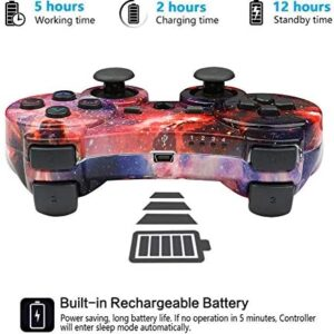 CHENGDAO PS3 Controller 2 Pack Wireless Dual Shock Gamepad for Sony Playstation 3 with Charging Cord (Skull + Galaxy)